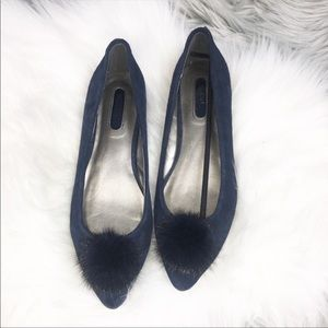 New mark navy blue suede pom pom flats 7